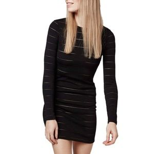 Topshop Sheer Stripe Long Sleeve Black Dress 0